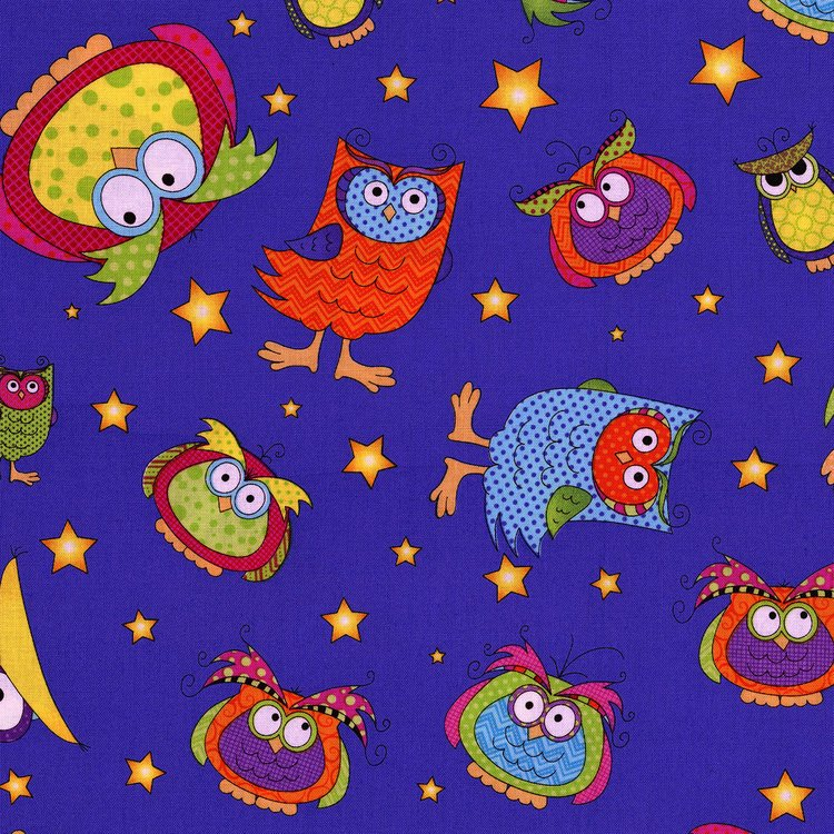 Happy Owl O Ween - Owls Everywhere Toss on Blue by Sue Marsh for RJR Fabrics