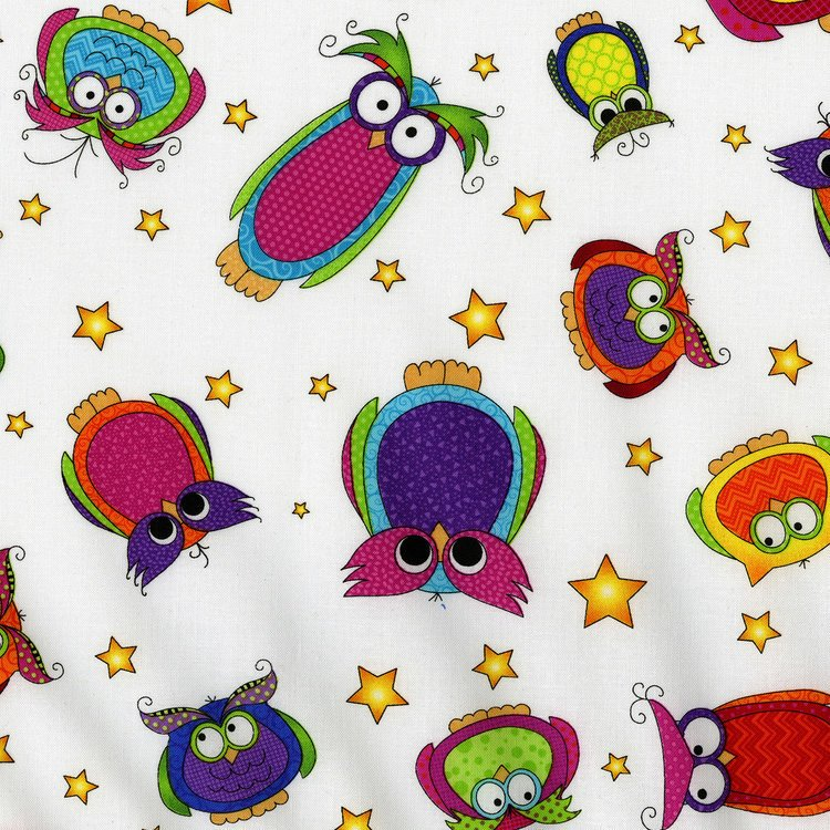 Happy Owl O Ween - Owls Everywhere Toss on White by Sue Marsh for RJR Fabrics