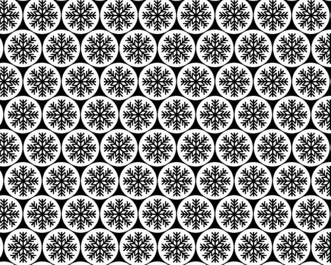 Winter Essentials III - Snowflakes in Black on White by Studio E