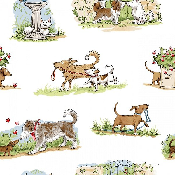 Puppy Love - Toile in White by Anita Jeram for Clothworks