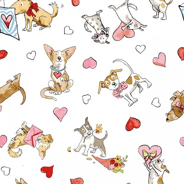 Puppy Love - Puppy Toss in White by Anita Jeram for Clothworks