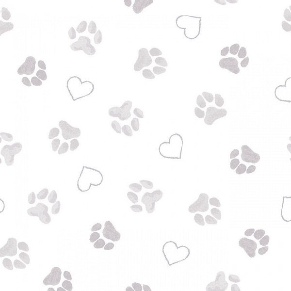 Puppy Love - Paws in Tonal White by Anita Jeram for Clothworks