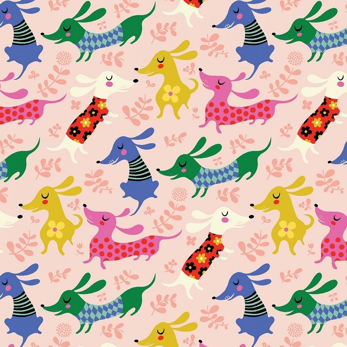 Make Today Awesome - Dachshunds in Light Pink by Helen Dardik for Clothworks