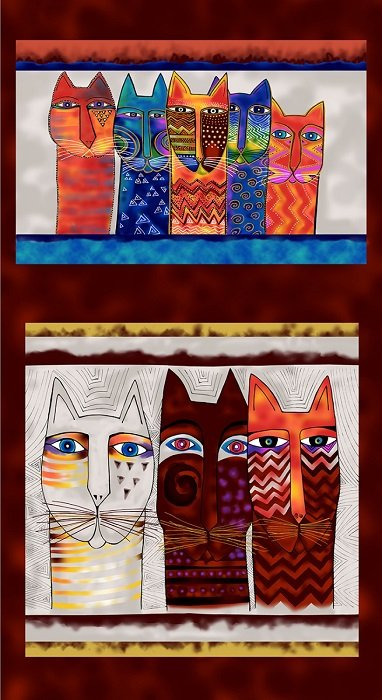 Panel - Feline Frolic Pillow in Multi with Metallic (24 x 44) by Laurel Burch for Clothworks