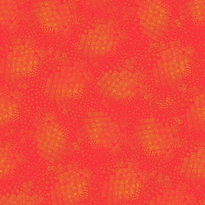 Feline Frolic - Geo in Tomato Tonal by Laurel Burch for Clothworks