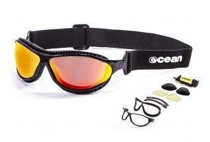 Ocean Sunglasses Tierra De Fuego Matte Blk Red Lens