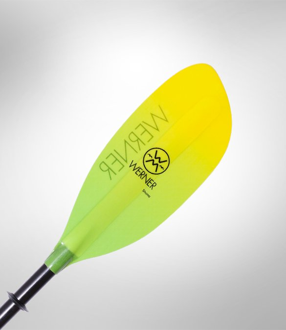 Werner Shuna Fiberglass 2-Piece Paddle - Straight Shaft 215 Gradient Citrus