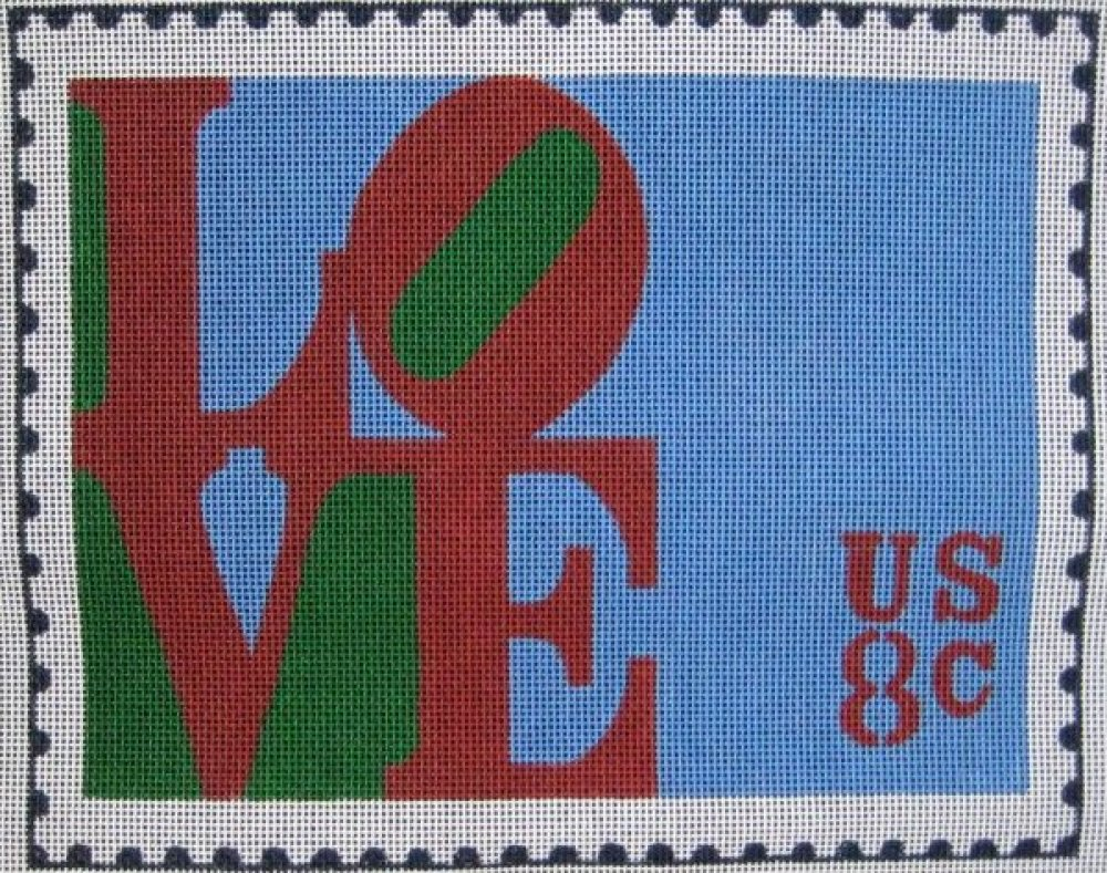 Handpainted Needlepoint<BR>Love Postage Stamp