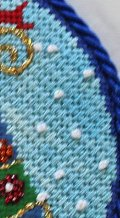 diagonal mosaic stitch with french knot