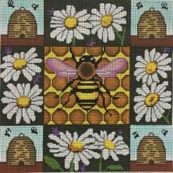 Honey Bees & Daisies handpainted needlepoint