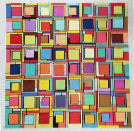 Geometric needlepoint called Block Party by JulieMar