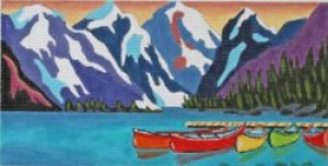 Mountain Lake needlepoint by Louise Marion