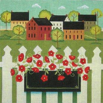 town with flower box folk art needlepoint