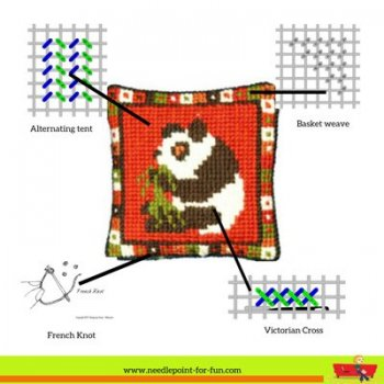 Needlepoint stitch guide for Animal Fayre Little Panda