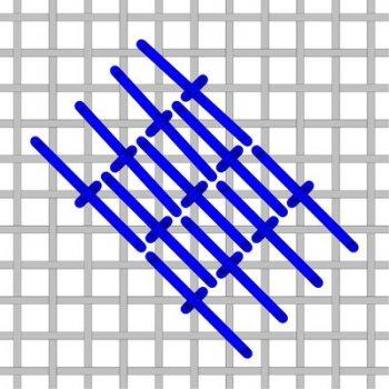 Diagonal Roumanian needlepoint stitch to the left