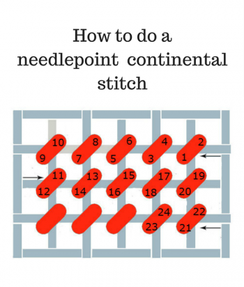 how to do a needlepoint continental stitch