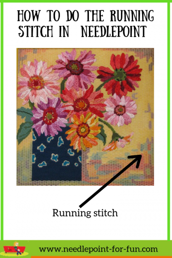 How to do the running stitch in needlepoint