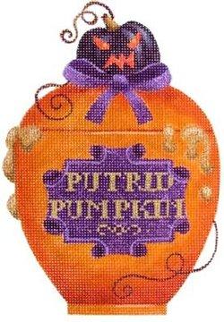 Poison bottle Putrid Pumpkin Halloween needlepoint