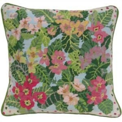 garden primroses needlepoint cushion kit