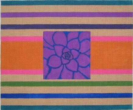flower on stripes needlepoint