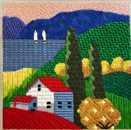 House by the lake, JulieMar & Friends needlepoint