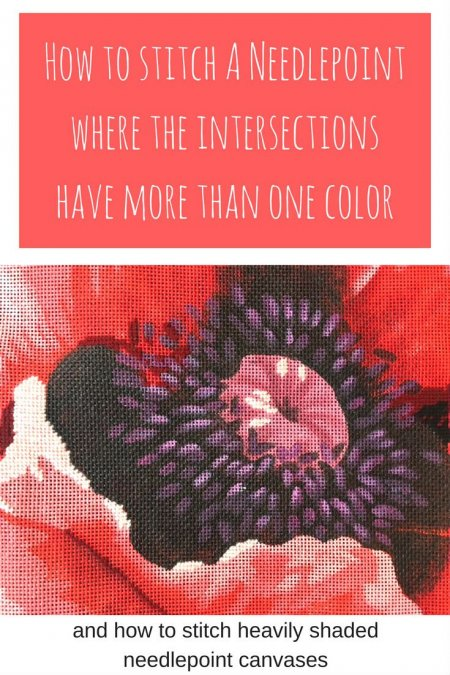 how to stitch needlepoint where the intersections are more than one color