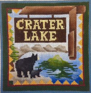 Crater Lake national park needlepoint by Denise De Rusha