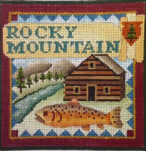 Rocky Mountain national park needlepoint by Denise De Rusha