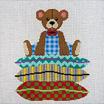 JP Needlepoint Boy Bear on Stack