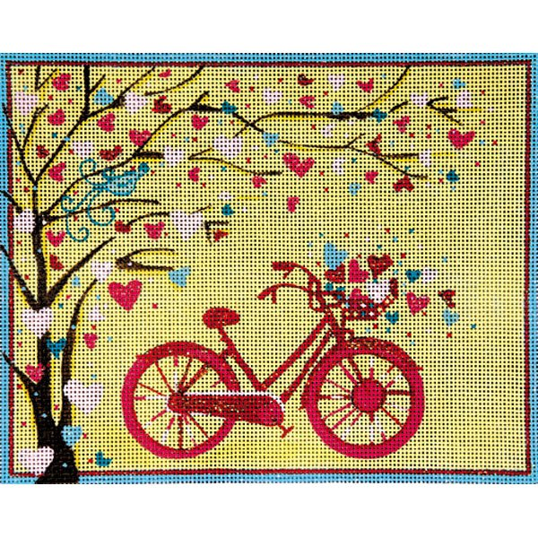 Alice Peterson Needlepoint<BR>Bicycle and Tree