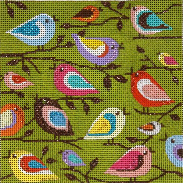 Needlepoint Folk Art Birds