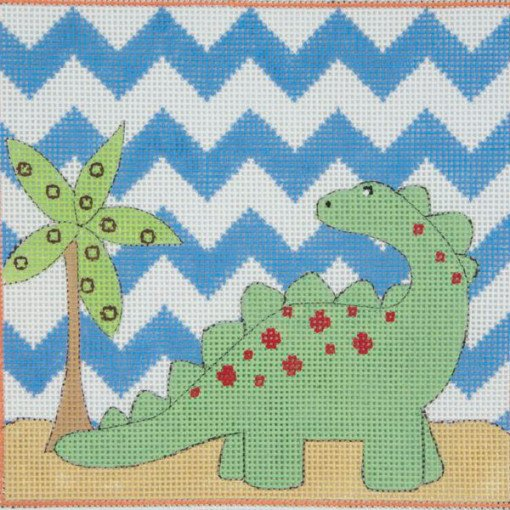 Green Brontosaurus Needlepoint