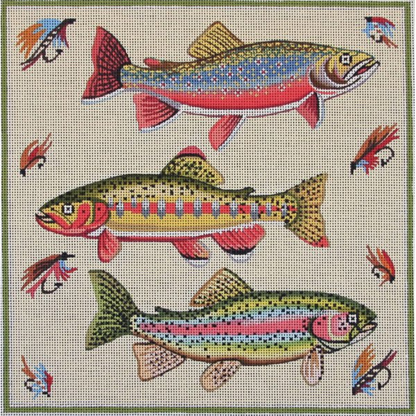 Three Fish Needlepoint