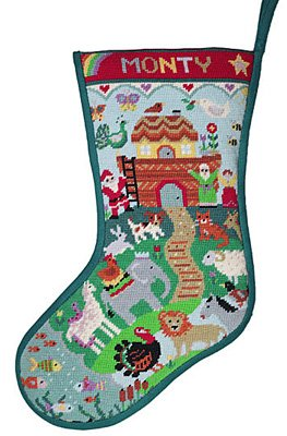 Noah's Ark needlepoint stocking kit