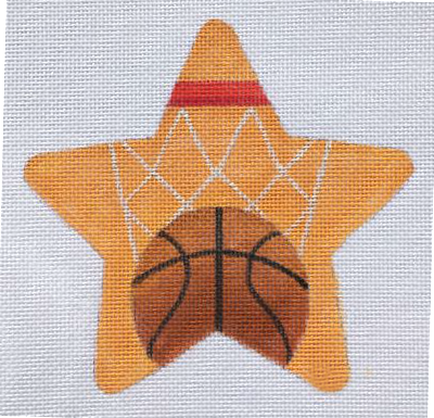 Basketball Needlepoint Star Ornament