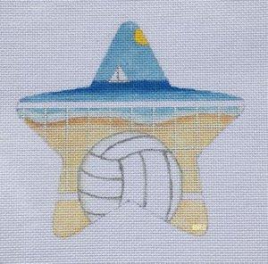 Beach Volleyball Needlepoint Star Ornament