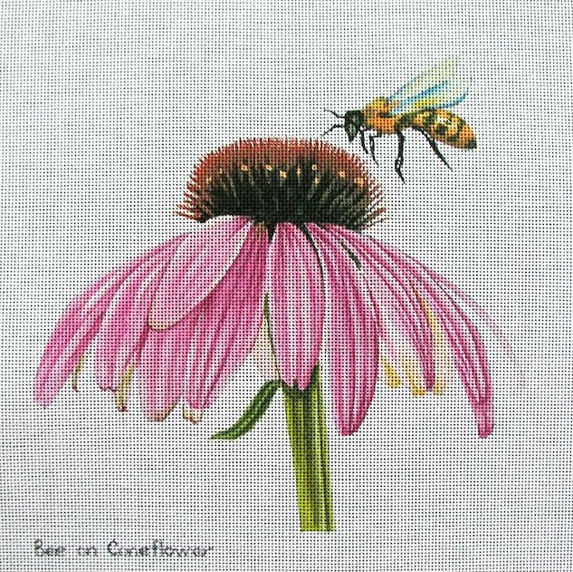 Bee on Coneflower Handpainted Needlepoint