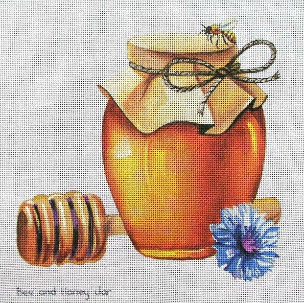 Bee and Honey Jar Needlepoint