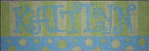 Beth Gantz Needlepoint Custom Names<BR>Pink and Blue Spots