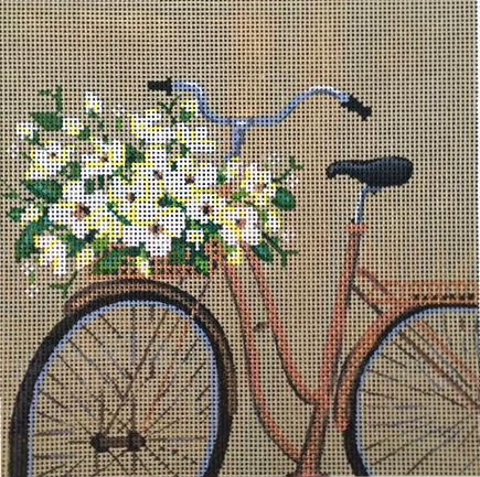 Bike and Flowers Needlepoint