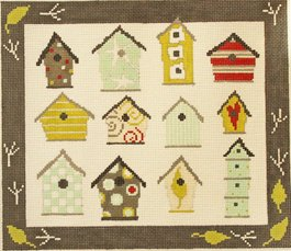 bird houses by Pipin handpainted needlepoint