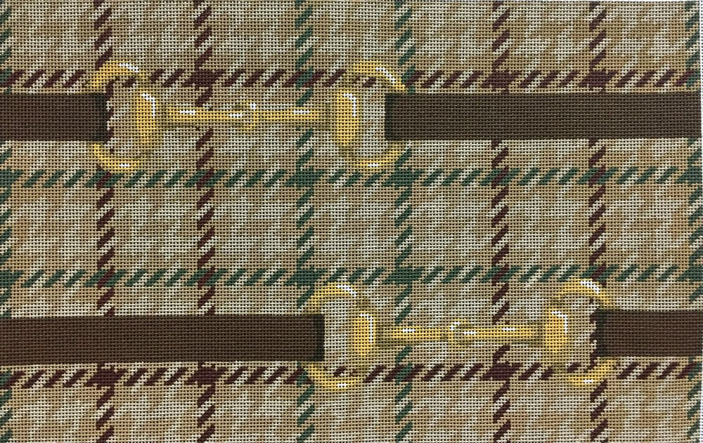 Equestrian Needlepoint Bits on Guncheck Taupe