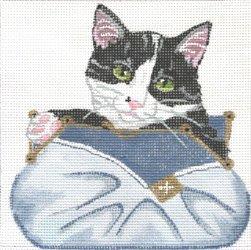 black & white kitten in purse by JulieMar