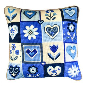Hearts & Flowers in Blue Needlepoint Kit