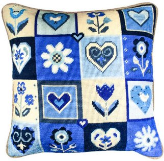 Flowers and Hearts in blue Needlepoint kit