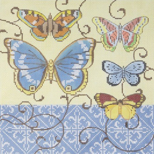 Butterflies on Cream Needlepoint
