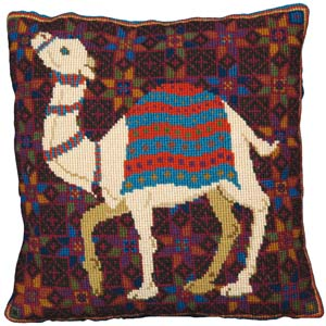 animal fayre needlepoint pillow kit camel