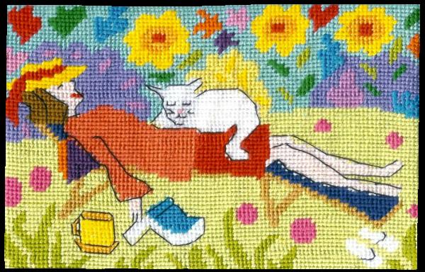 Jennifer Pudney Needlepoint Cat Nap