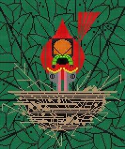 Charley Harper Needlepoint Cardinal Cradle
