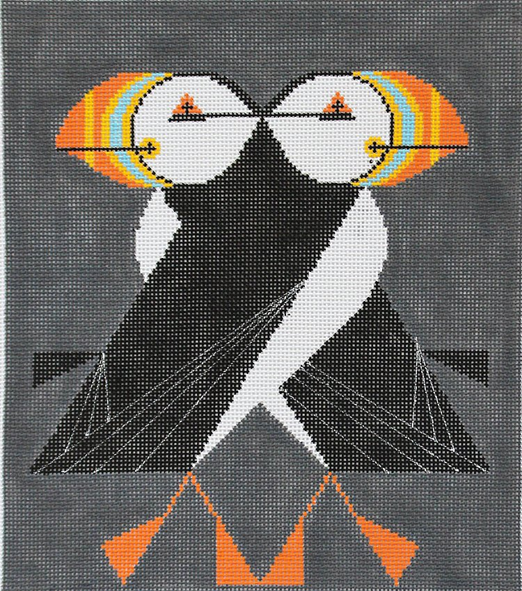 Charley Harper Needlepoint Puffins Passing